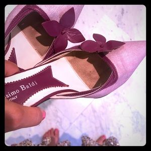 Massimo Baldi Pink Flower Kitten Heel